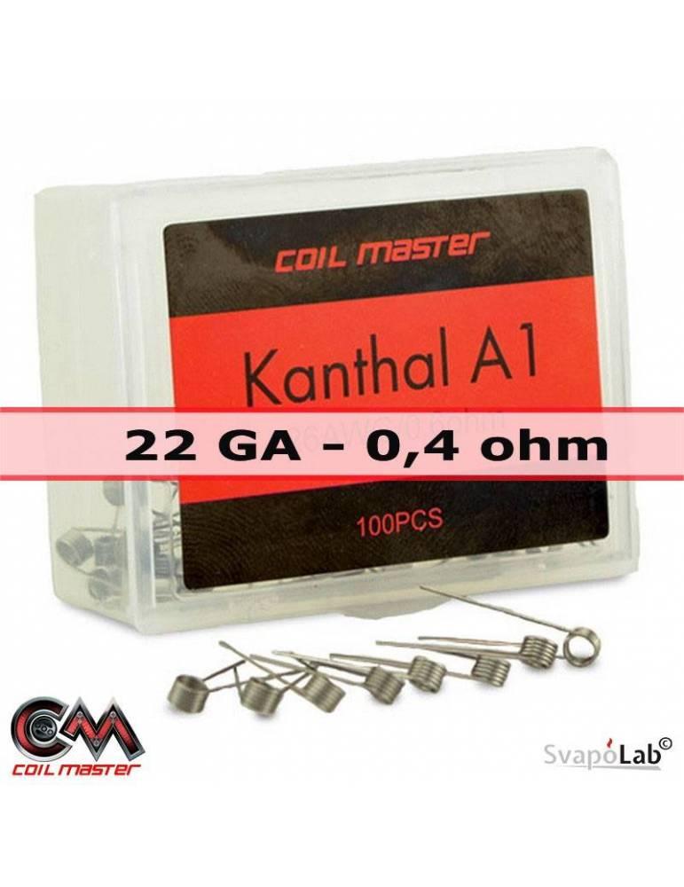 Coil Master KANTHAL A1 premade coil 0,4 ohm – 22 GA (conf. 100 pz)