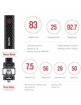 Smok RESA STICK kit 2000 mah – 7,5 ml - misure