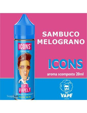 Pro Vape Icons ELVIS VAPELY 20 ml aroma scomposto  + OMAGGIO Full Vg 30ml Domina