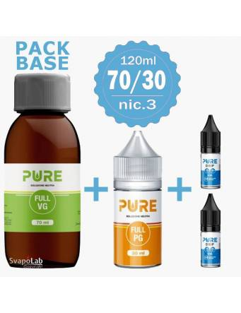 Pure pack BASE 70/30 - 120ml - nic.3 Drip Small (1 VG70 + 1 PG30 + 2 Basi10/18nic)