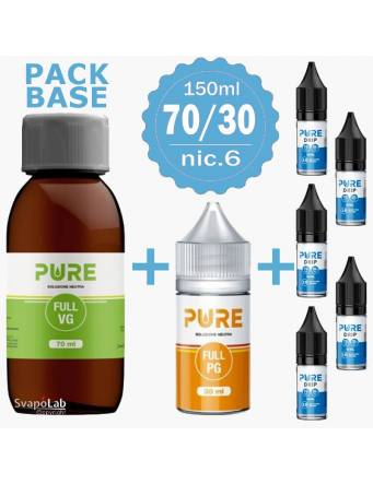 Pure pack BASE 70/30 - 150ml - nic.6 Drip Small (1 VG70 + 1 PG30 + 5 Basi10/18nic)