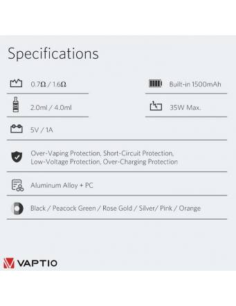 Vaptio COSMO PLUS kit 1500 mah specifiche tecniche