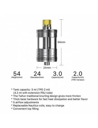 Aspire Nautilus GT tank 3ml/4,2ml (ø24mm) specifiche tecnice