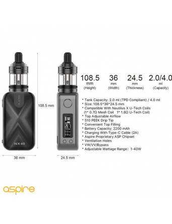 Aspire ROVER 2 NX40 kit 2200mah/40W (con NAUTILUS XS tank 2ml) specifiche tecniche