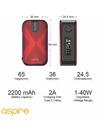 Aspire ROVER 2 NX40 2200mah/40W box mod - specifiche tecniche