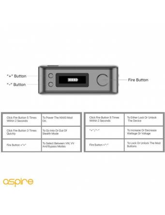 Aspire ROVER 2 NX40 2200mah/40W box mod - modalità uso