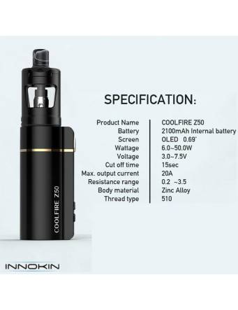 Innokin COOLFIRE Z50 kit 2100mah/50W (con ZLIDE tank 2ml) - specifiche tecniche