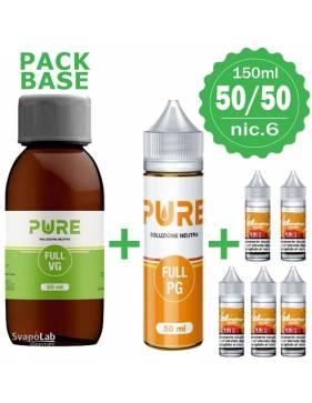 Pure pack BASE 50/50 - 150ml - nic.6 (con 5 Basi 10ml/18nic)