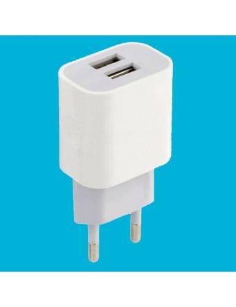 Adattatore di rete doppia USB 2A – caricabatteria rapido (BIANCO)